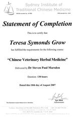 Chinese Veterinary Herbal Medicine certificate