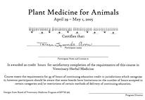 Plant Medicine for Animals certificate